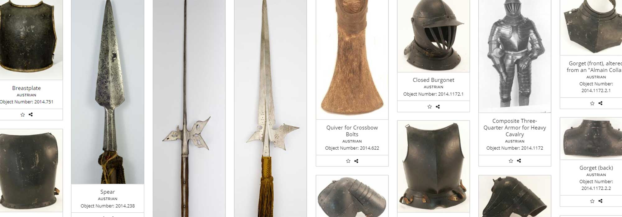 A screenshot of a page of objects in the Higgins Armory Collection online