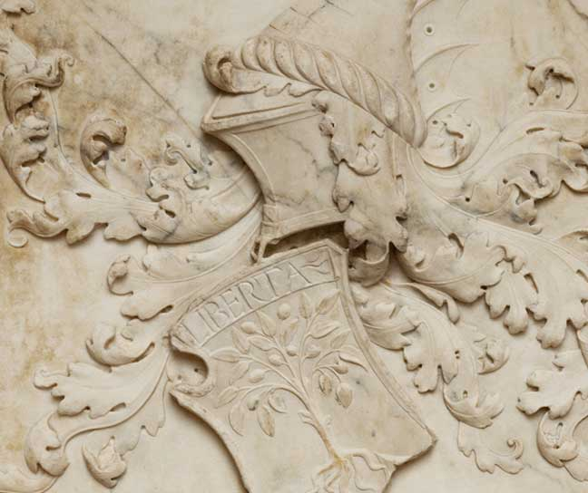 A marble coat of arms for Giovanni de Francesco