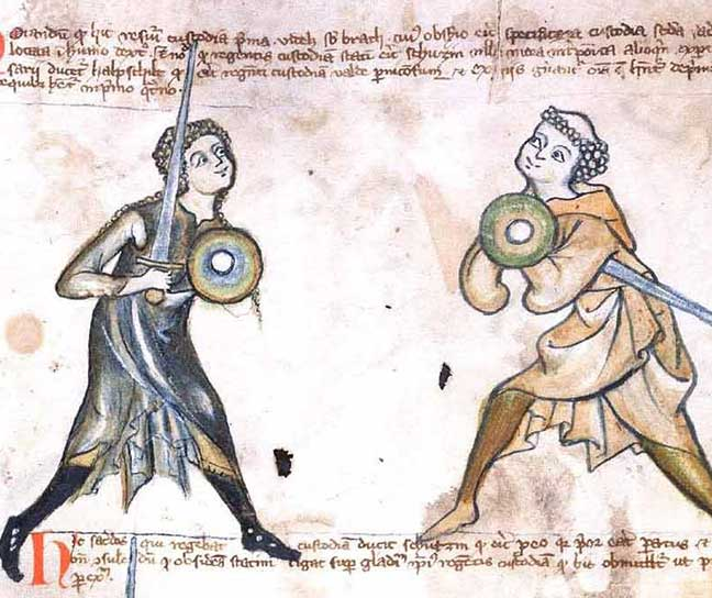 Medieval imagery of men in combat holding swords and shields