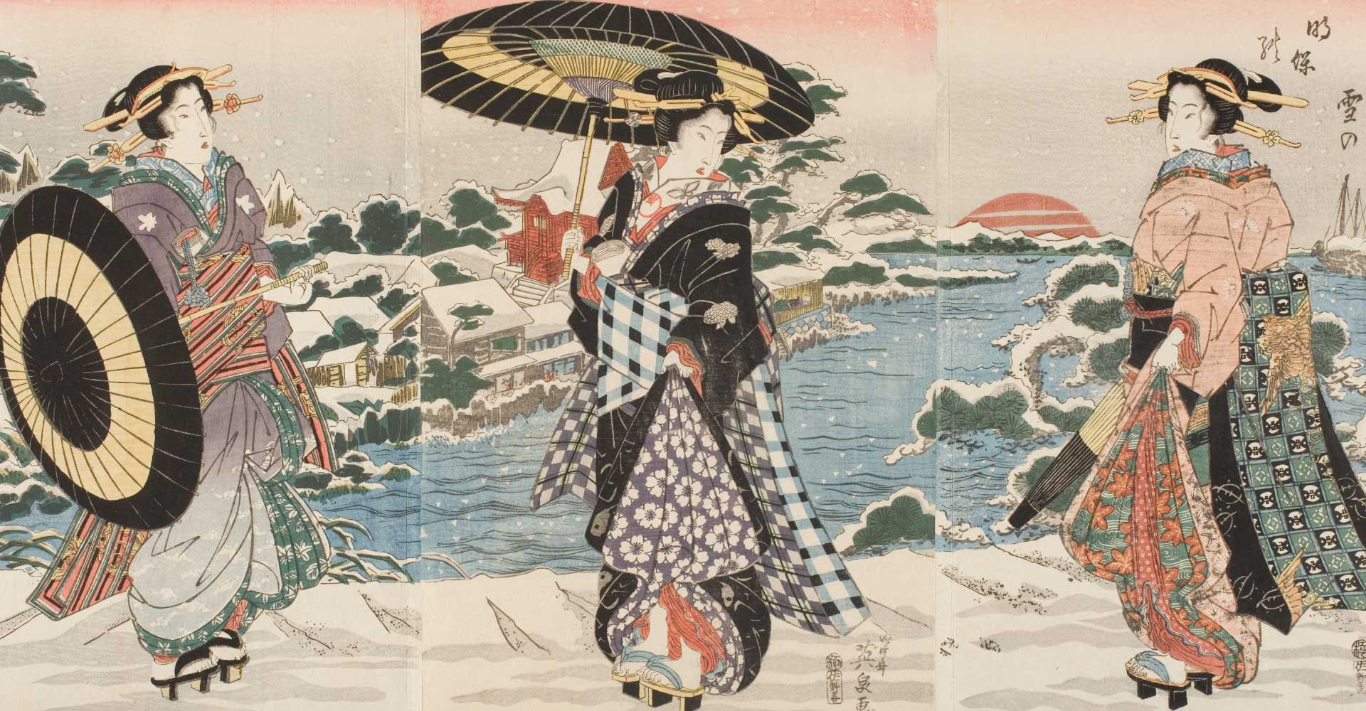 Kesai Eisen, Sano-ya Kihei Modern-Style Beauties in Snow at Dawn Near Benten Shrine, early-mid 1820's, woodblock print, ink and color on paper