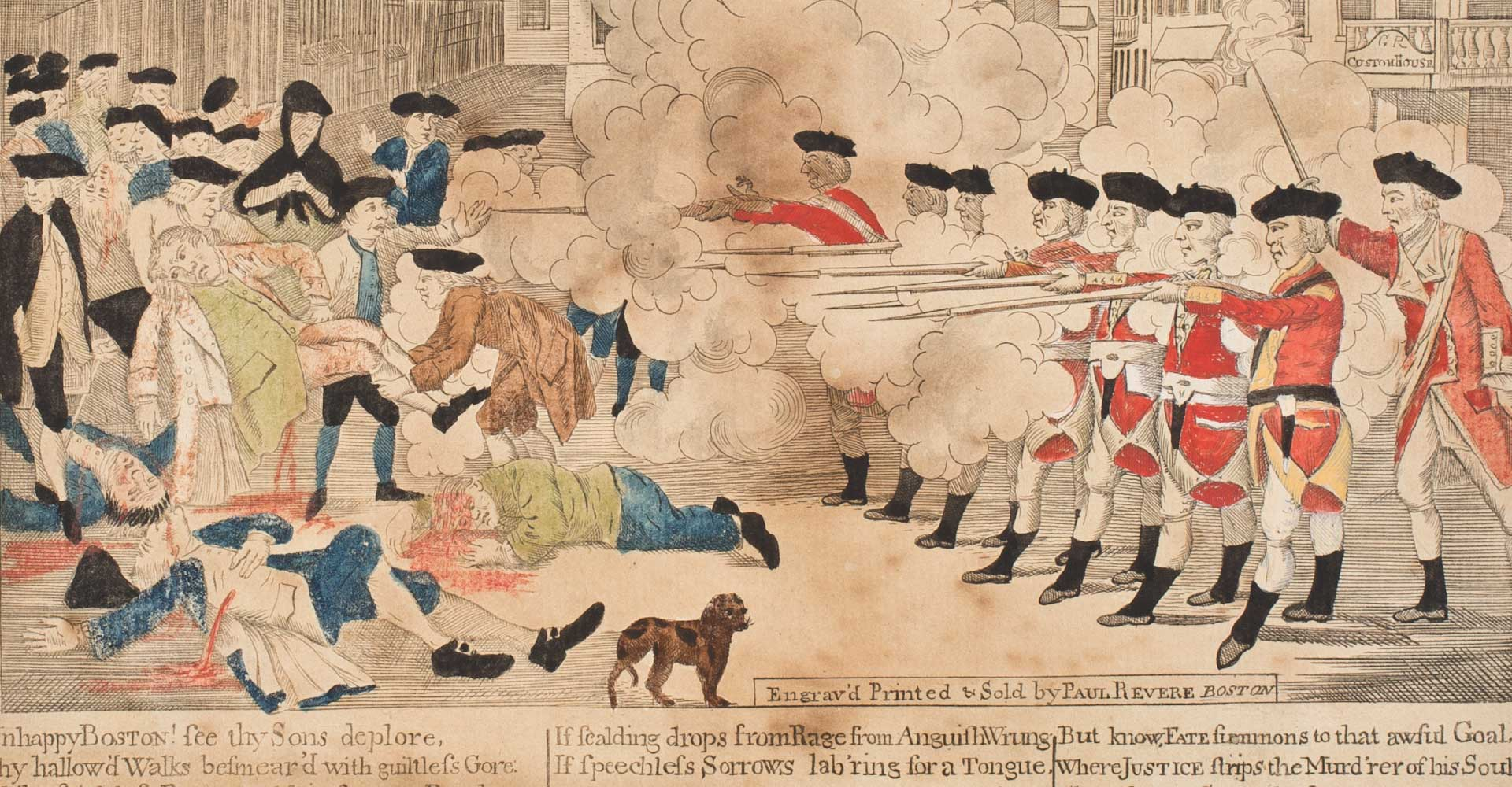Detail of 'The Bloody Massacre Perpetuated in King-Street Boston on March 5th 1770', an engraving by Paul Revere
