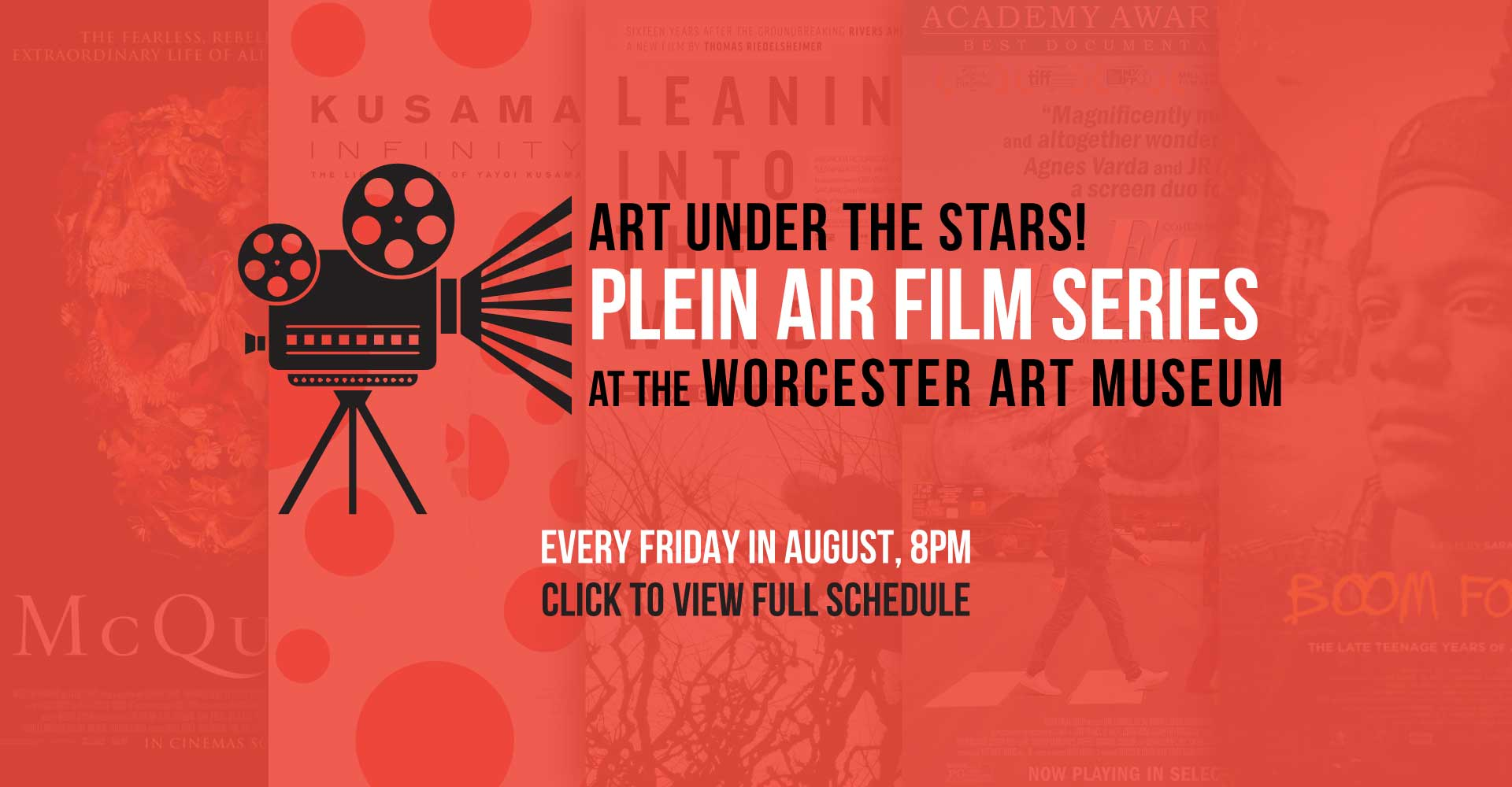 Plein Air Film Series at the Worcester Art Museum – Every Friday in August, 8pm