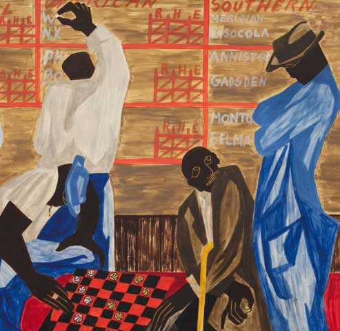 Sir Jacob Lawrence, The Checker Players, 1947, egg tempera on gessoed panel (hardboard)