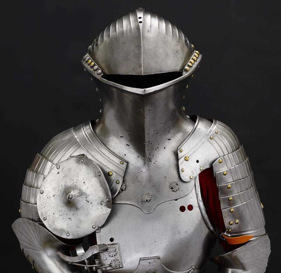 "Composite Stechzeug (armor for the ""German Joust""), pauldrons by Valentin Siebenbürger, about 1480–1540, steel, iron, brass and leather"