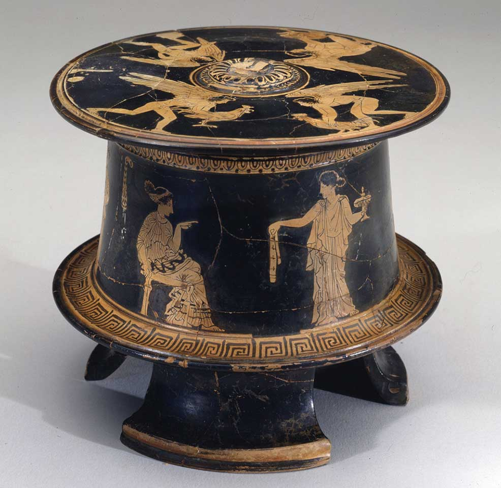 Eretria Painter, Small Container (Pyxis) With Lid: Three Women and their Maids (detail), about 430–425 B.C.E, red-figure painted pottery