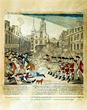 "A print of the King Street ""Bloody Massacre"" in Boston"