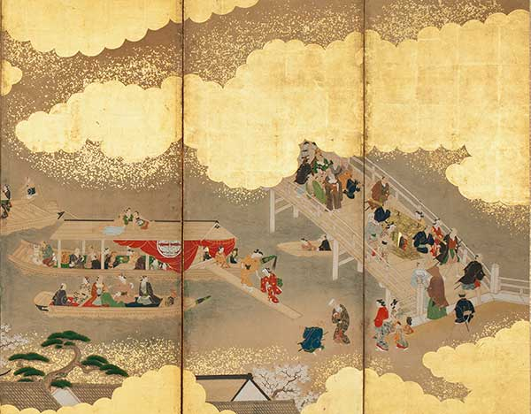 Miyagawa Choshun (Japanese, 1682–1752), Amusements at Cherry-Blossom Viewing Time (detail), Kyōhō era (1716–1736) pair six-panel folding screen; ink, color, and gold on paper