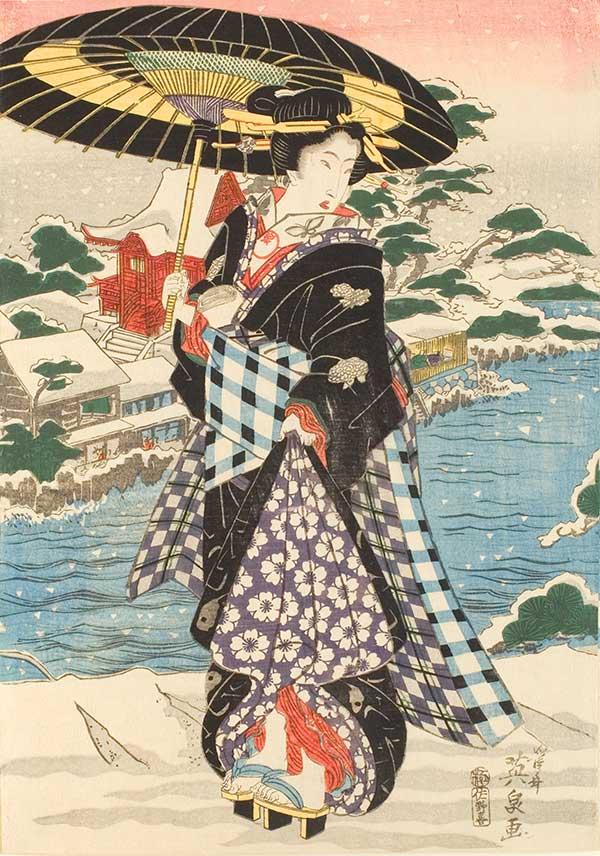 Keisai Eisen, Modern-Style Beauties in Snow, early-mid 1820s, published by Sanoya Kihei (Japanese), color woodblock print